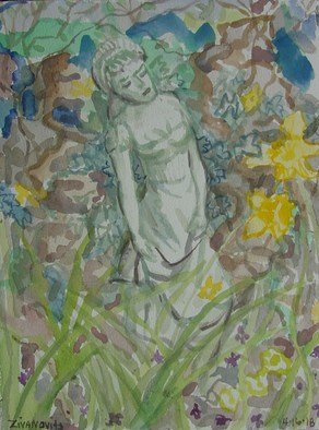 Artist: Dana Zivanovits - Title: GARDEN STATUE - Medium: Watercolor - Year: 2008