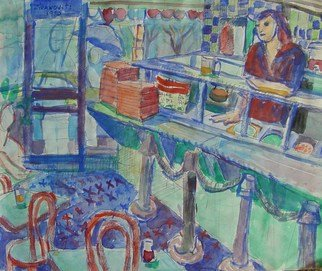 Artist: Dana Zivanovits - Title: GREEK DINER - Medium: Watercolor - Year: 1980