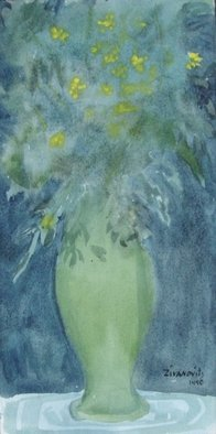 Artist: Dana Zivanovits - Title: GREEN VASE - Medium: Watercolor - Year: 1991