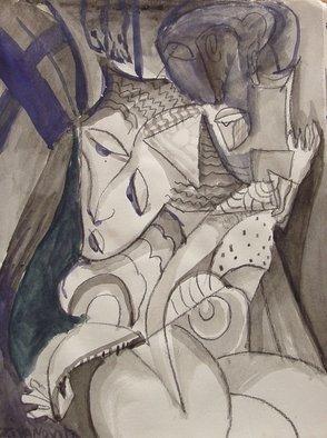 Artist: Dana Zivanovits - Title: JESUS AND MARY - Medium: Watercolor - Year: 1986