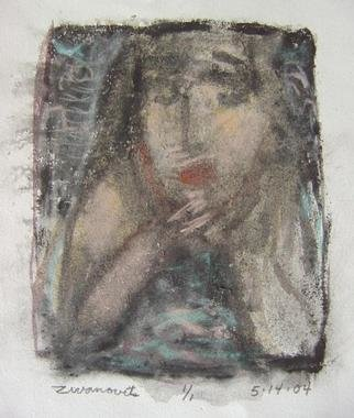 Dana Zivanovits: 'LOOKING ON', 2004 Monoprint, People.  This is a mono type pulled from a painted glass plate with watercolor and pastel additions. Done on all cotton acid free paper- a signed and dated zivanovits original. Image 6