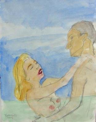 Artist: Dana Zivanovits - Title: LOVERS AT SEA - Medium: Watercolor - Year: 1993