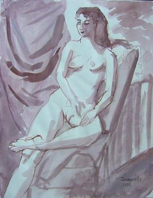 Artist: Dana Zivanovits - Title: MAUVE NUDE - Medium: Watercolor - Year: 1988