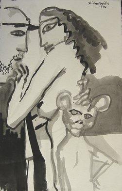 Artist: Dana Zivanovits - Title: MONKEY GIRL - Medium: Watercolor - Year: 1990