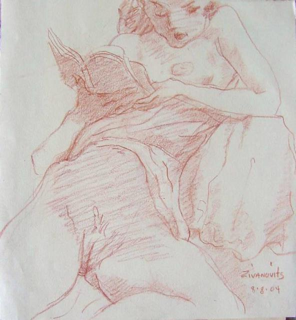 Artist Dana Zivanovits. 'NUDE READING' Artwork Image, Created in 2004, Original Painting Other. #art #artist