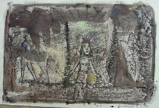 Dana Zivanovits: 'PHARAOHS TOMB', 2004 Monoprint, Mythology.  One of a kind monotype pulled from a painted glass plate with watercolor. A signed and dated Zivanovits original. 1/ 1 on all cotton acid free Arches paper. Image 13