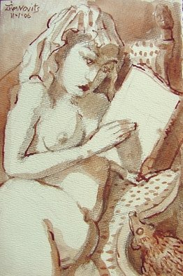 Artist: Dana Zivanovits - Title: READING - Medium: Watercolor - Year: 2006
