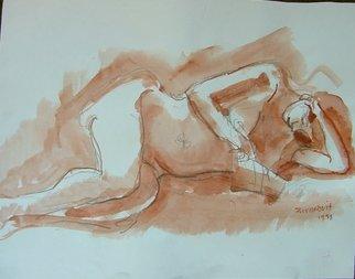 Artist: Dana Zivanovits - Title: READING NUDE - Medium: Watercolor - Year: 1998