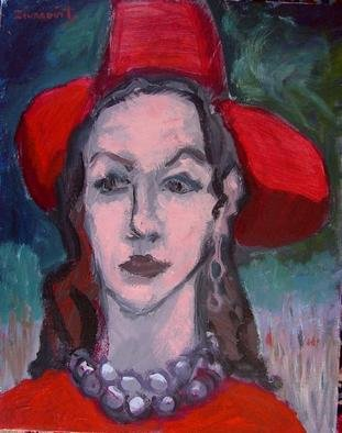 Dana Zivanovits: 'RED HAT', 2002 Acrylic Painting, Fashion.  Acrylic on streched Fredrix canvas- a signed Zivanovits original. ...