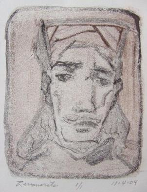 Dana Zivanovits: 'RENAISSANCE MAN', 2004 Monoprint, History.  This is a monotype pulled from a painted glass plate on all cotton Arches paper. Numbered 1/ 1- a signed and dated Zivanovits original. Image size 5