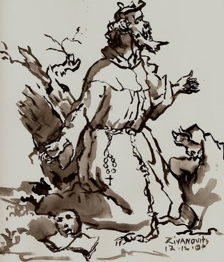 Dana Zivanovits: 'SANCTUS PACHOMIUS', 2007 Ink Painting, Religious. Artist Description:  Depiction of an early monastic hermit done in india ink on acid free Fariano watercolor paper. A signed and dated Zivanovit's original. ...