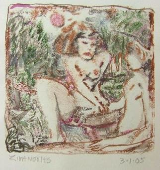 Dana Zivanovits: 'SEDUCTION', 2005 Monoprint, Erotic.   This is a mono type pulled from a painted glass plate with watercolor additions on Arches all cotton acid free paper. A signed and dated Zivanovits original. Image size 4