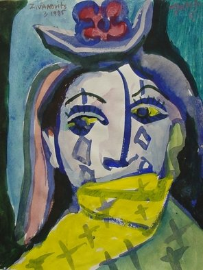 Artist: Dana Zivanovits - Title: SILENT CLOWN - Medium: Watercolor - Year: 1986