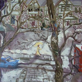 Dana Zivanovits: 'SNOW SHOWER', 2004 Oil Painting, Cityscape. Artist Description:   This is an oil painting on stretched canvas drawn from life from outside my window  A signed and dated Zivanovits original.     ...