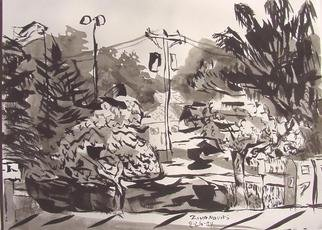 Dana Zivanovits: 'SUBURBAN STREET', 2004 Ink Painting, Cityscape.  A spontaneous ink study of a suburban street. Ink on Fabriano acid free watercolor paper. Signed and dated Zivanovits original. ...