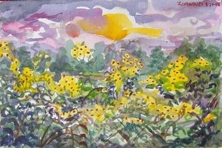Artist: Dana Zivanovits - Title: SUNFLOWER FIELD - Medium: Watercolor - Year: 2006