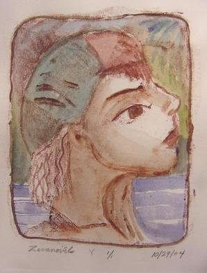 Dana Zivanovits: 'SWIMMER', 2004 Monoprint, Sports.  One of a kind monotype pulled from a painted glass plate with watercolor. A signed and dated Zivanovits original. 1/ 1 on all cotton acid free Arches paper. Image 5