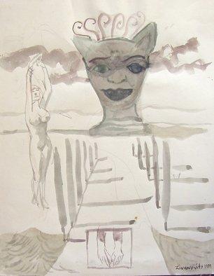 Artist: Dana Zivanovits - Title: TEMPLE OF THE CAT - Medium: Watercolor - Year: 1989