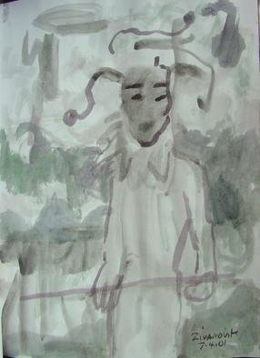 Artist: Dana Zivanovits - Title: THE JESTER - Medium: Watercolor - Year: 2001
