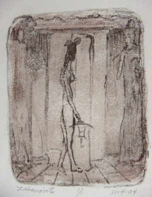 Dana Zivanovits: 'THE TEMPLE', 2004 Monoprint, Religious.   One of a kind monotype pulled from a painted glass plate with watercolor. A signed and dated Zivanovits original. 1/ 1 on all cotton acid free Arches paper. Image 5