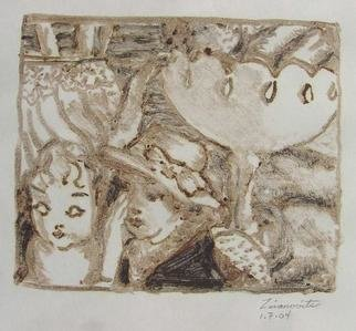 Dana Zivanovits: 'THIRTIES STILL LIFE', 2004 Monoprint, Still Life.  This is a mono type pulled from a painted glass plate  done on acid free Japanese rice paper paper- a signed and dated Zivanovits original. Image 6 1/ 2