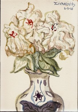 Artist: Dana Zivanovits - Title: THREE PEONIES - Medium: Watercolor - Year: 2008