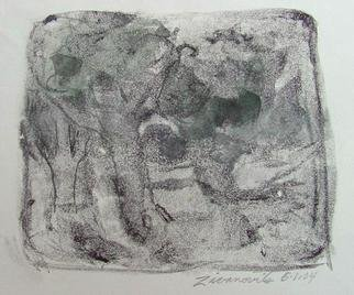 Dana Zivanovits: 'THREE TREES', 2004 Monoprint, Landscape.  This is a mono type pulled from a painted glass plate with watercolor additions on rives all rag acid free paper. 1/ 1 - a signed and dated Zivanovits original. Image size; 5