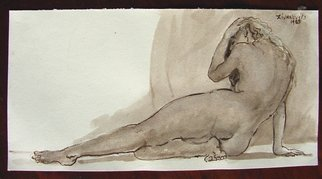 Artist: Dana Zivanovits - Title: UMBER NUDE - Medium: Watercolor - Year: 1985
