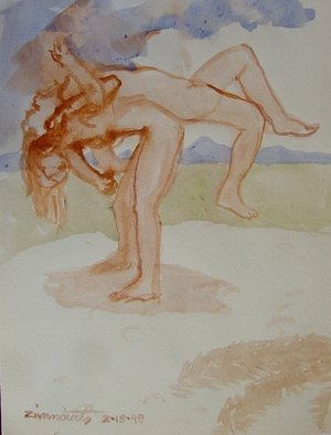 Artist: Dana Zivanovits - Title: WRESTLE - Medium: Watercolor - Year: 1998