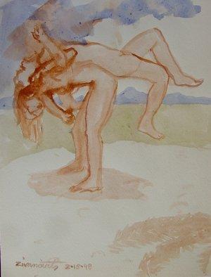 Artist: Dana Zivanovits - Title: WRESTLE - Medium: Watercolor - Year: 1998