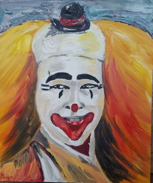 Zlatka Yankova  'Clown', created in 2019, Original Painting Oil.