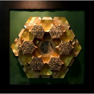 Parastoo Zomorrod: '3d hexagon calligraphy', 2017 Paper, Geometric. Artist Description: Origami, tessellation, 3d, hexagon, calligraphy, golden...