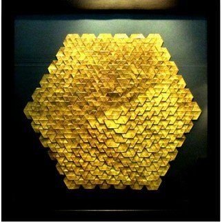 Parastoo Zomorrod: 'golden hexagon', 2018 Paper, Geometric. Artist Description: Origami, tessellation, hexagon...