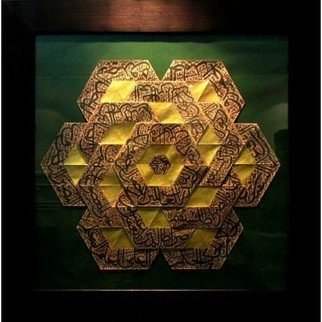 Parastoo Zomorrod: 'hexagon calligraphy', 2018 Paper, Geometric. Artist Description: Origami, Tessellation, Hexagon, Tessellation...