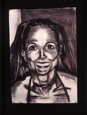 Portrait Charcoal Drawing by Zoraida Haibi Title: Becky, created in 2000