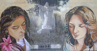 Zoraida Haibi Artwork 'Empty Vessels', 2007. Mixed Media. Healing. Artist Description: Two women dealing with the loss of their unborn children; acrylic, charcoal, dried baby' s breath, photocopies, and flowers on canvas......