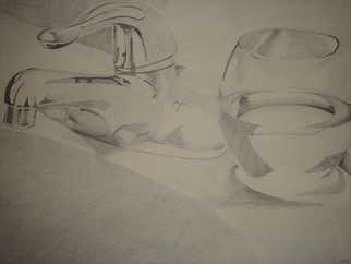 Still Life Pencil Drawing by Zoraida Haibi Title: Glass and Faucet, created in 2006