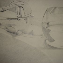 Zoraida Haibi Artwork Glass and Faucet, 2006 Pencil Drawing, Still Life