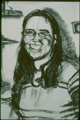 Portrait Charcoal Drawing by Zoraida Haibi Title: Karen, created in 1998