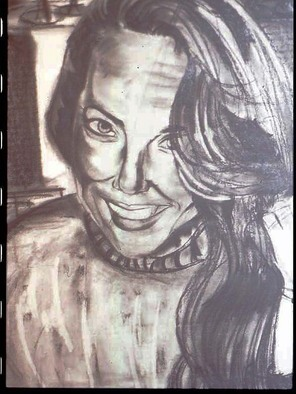 Portrait Charcoal Drawing by Zoraida Haibi Title: My Chica, created in 2003