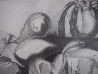 Still Life Pencil Drawing by Zoraida Haibi Title: Reproduction of Caravaggio Still Life, created in 2006