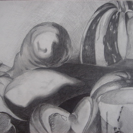 Zoraida Haibi Artwork Reproduction of Caravaggio Still Life, 2006 Pencil Drawing, Still Life
