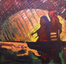 - artwork Sitting_on_a_Wall_Looking_at_a_Sunset_Sunrise-1152462752.jpg - 1996, Painting Acrylic, Figurative