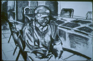 Portrait Charcoal Drawing by Zoraida Haibi Title: Solo, created in 1998