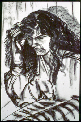 Portrait Charcoal Drawing by Zoraida Haibi Title: The Bar, created in 1998