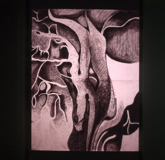 Abstract Charcoal Drawing by Zoraida Haibi Title: Untitled Vegetation, created in 1995