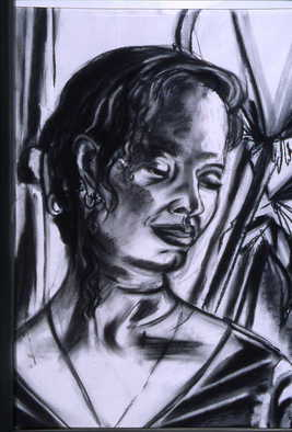 Portrait Charcoal Drawing by Zoraida Haibi Title: Untitled Woman, created in 2000