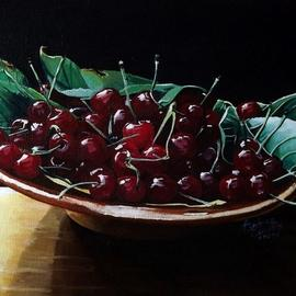 Andrea Zucca: 'cherries', 2010 Oil Painting, Still Life.