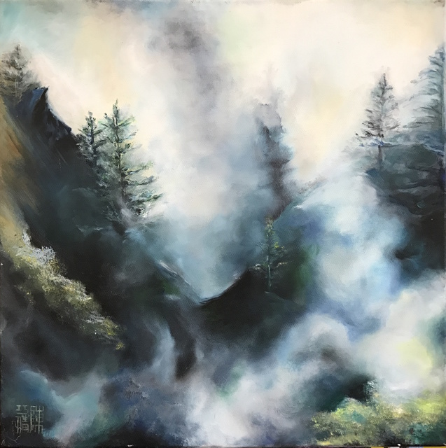 Zue Chan  'Rainning In The Mist ', created in 2016, Original Painting Oil.