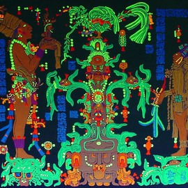 Sigmund Sieminski: 'Mayan panel Temple of the Maize God', 2011 Other Painting, Cosmic. Artist Description:    Reproduction of original Mayan sculptural Panel of the Maize God/ Tree in black light paint, on masonite.      ...